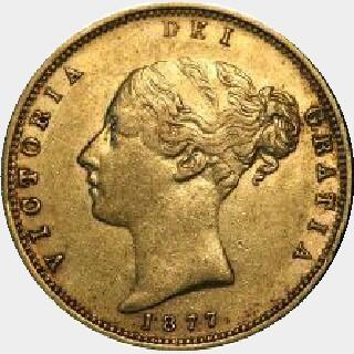 1877-M Wide Ribbon Half Sovereign obverse