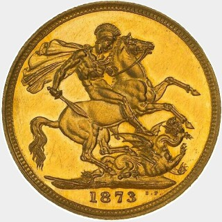 1873-M Proof Narrow Truncation Long Tail Full Sovereign reverse