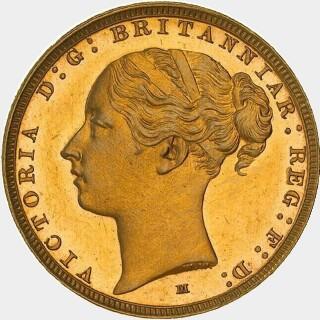 1883-M Proof Wide Truncation Short Tail Full Sovereign obverse