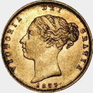 1877-M Narrow Ribbon Half Sovereign obverse