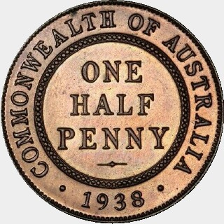 1938 Proof Half Penny reverse
