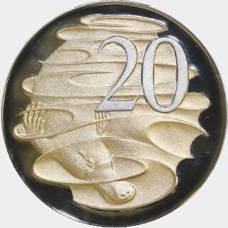 2013 Gold Overlaid Proof Twenty Cent reverse