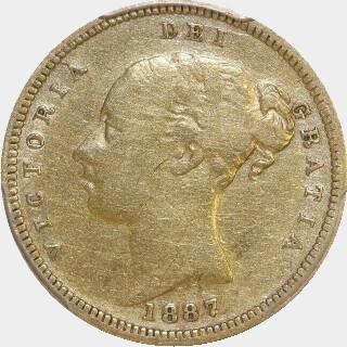 1887-S Beaded Reverse Half Sovereign obverse