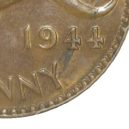 Dot mintmark after Y in 1944 Perth Mint Penny