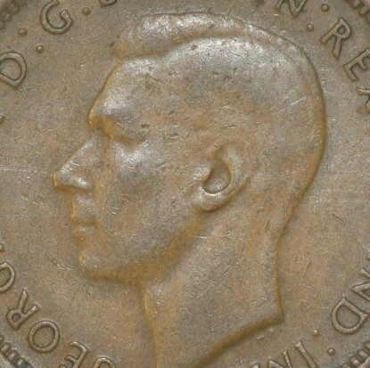 Soft obverse of a 1944 half penny