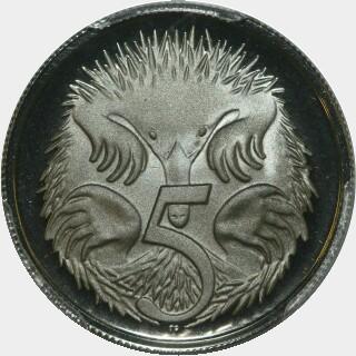 1973 Proof Five Cent reverse