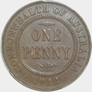 1922  Penny reverse