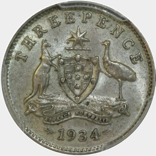1934/3 Overdate Threepence reverse
