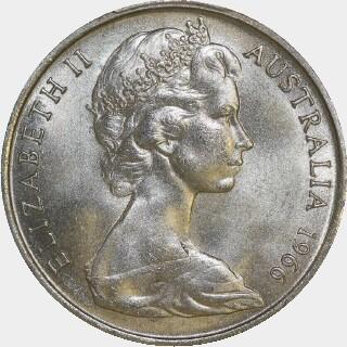 1966 Sans Gap Twenty Cent obverse