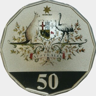 2001 Coloured Proof Fifty Cent reverse