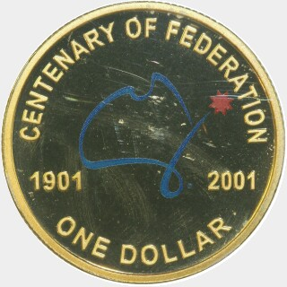 2001 Coloured Proof One Dollar reverse