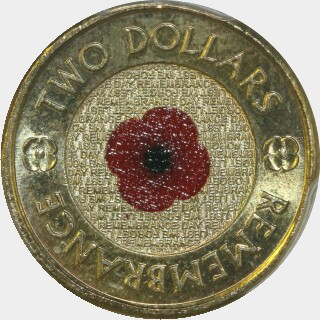 2012 Coloured Two Dollar reverse