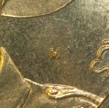 (M) counter-stamp on the 1999-M One Dollar (Last Anzacs) piece.