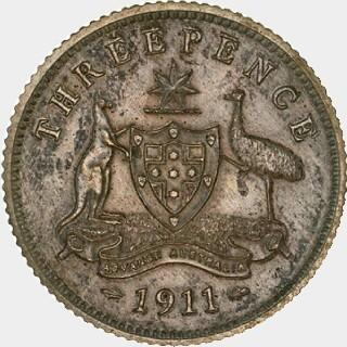 1911 Matte Proof Threepence reverse