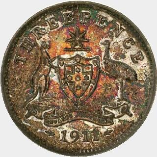 1911 Specimen Threepence reverse