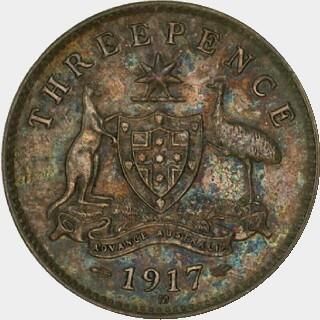 1917-M Specimen Threepence reverse