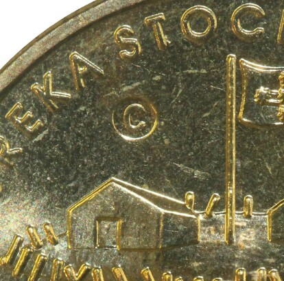 An 'C' counter-stamp from the Ballarat Eureka Centre on this 2004 One Dollar (Eureka) piece.
