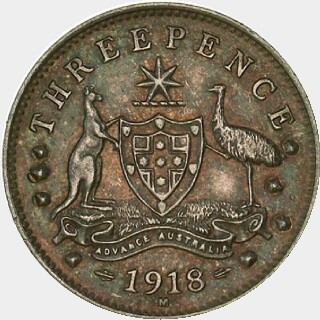 1918-M Pattern Threepence reverse