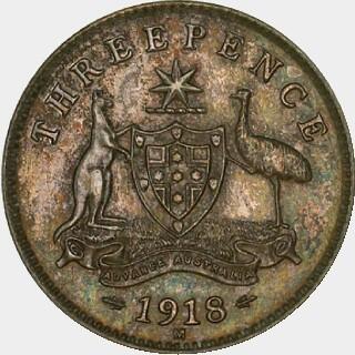 1918-M Specimen Threepence reverse