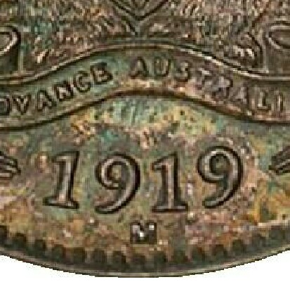 Melbourne 'M' mint-mark on the reverse of a 1919-M Specimen Threepence.