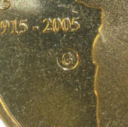 Gallipoli (G) privy-mark on 2005-G One Dollar (Gallipoli) piece.
