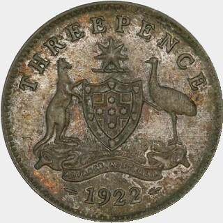1922 Specimen Threepence reverse