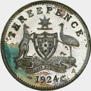 1924 Proof Threepence reverse