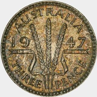 1947 Specimen Threepence reverse