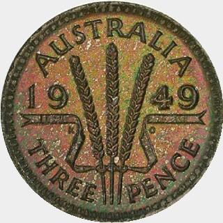 1949 Proof Threepence reverse