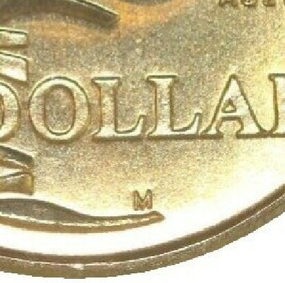 Melbourne (M) mint-mark on 1993-M (Landcare) one dollar piece.