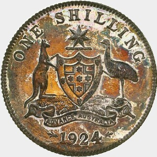 1924 Proof One Shilling reverse
