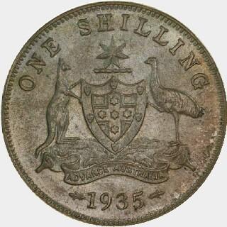 1935 Specimen Shilling reverse