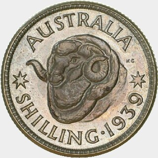 1939 Proof Shilling reverse