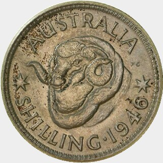 1946 Proof One Shilling reverse