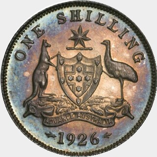 1926 Proof One Shilling reverse