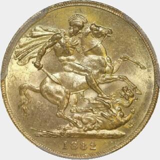 1882-S Wide Truncation Short Tail Full Sovereign reverse