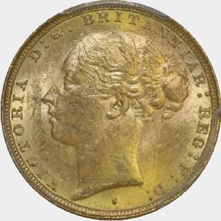 1882-S Wide Truncation Short Tail Full Sovereign obverse
