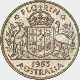 1953 Proof Florin reverse