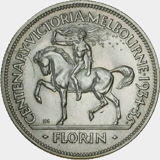 1934-35 Trial Florin reverse