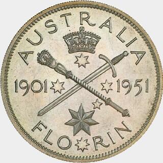 1951 Cupro-Nickel Pattern Florin reverse