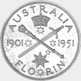 1951 Cupro-Nickel Pattern (obv tooled) Florin reverse