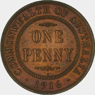 1916-I Specimen Penny reverse
