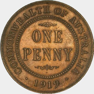 1919 Dot Below - Proof Penny reverse