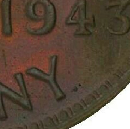 Dot mint-mark after 'PENNY' on a 1943-Y Proof Penny.