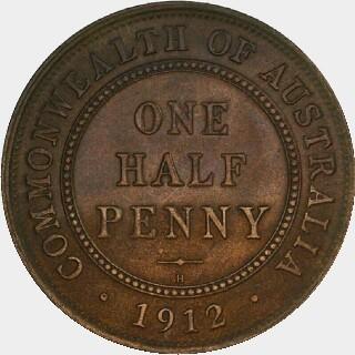 1912-H Specimen Half Penny reverse