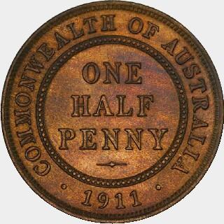 1911 Specimen Half Penny reverse
