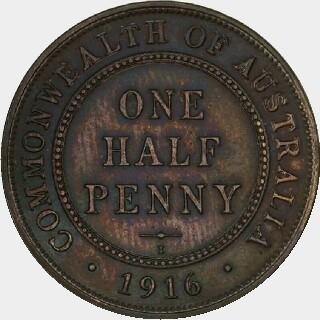 1916-I Specimen Half Penny reverse