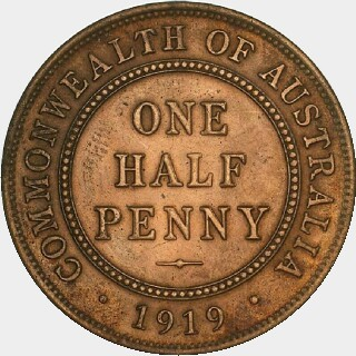 1919 Specimen Half Penny reverse
