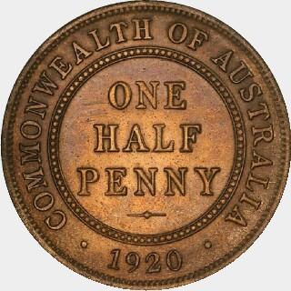 1920 Specimen Half Penny reverse