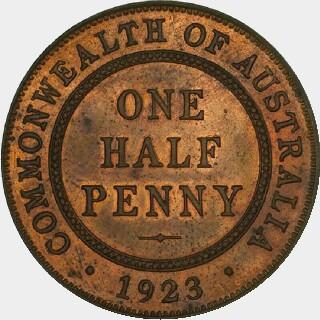 1923 Proof Half Penny reverse